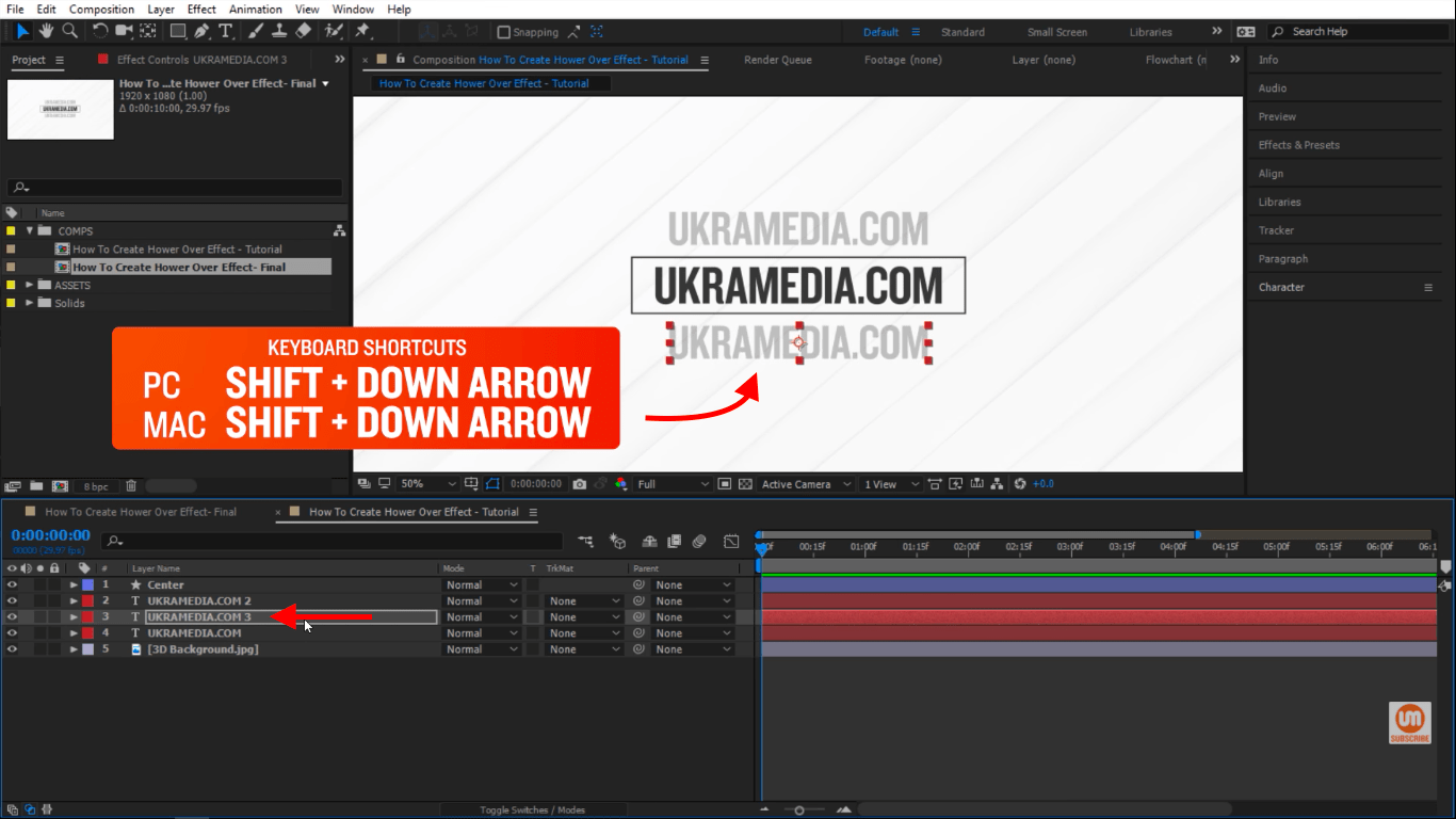 shift down keyboard shorcut in After Effects