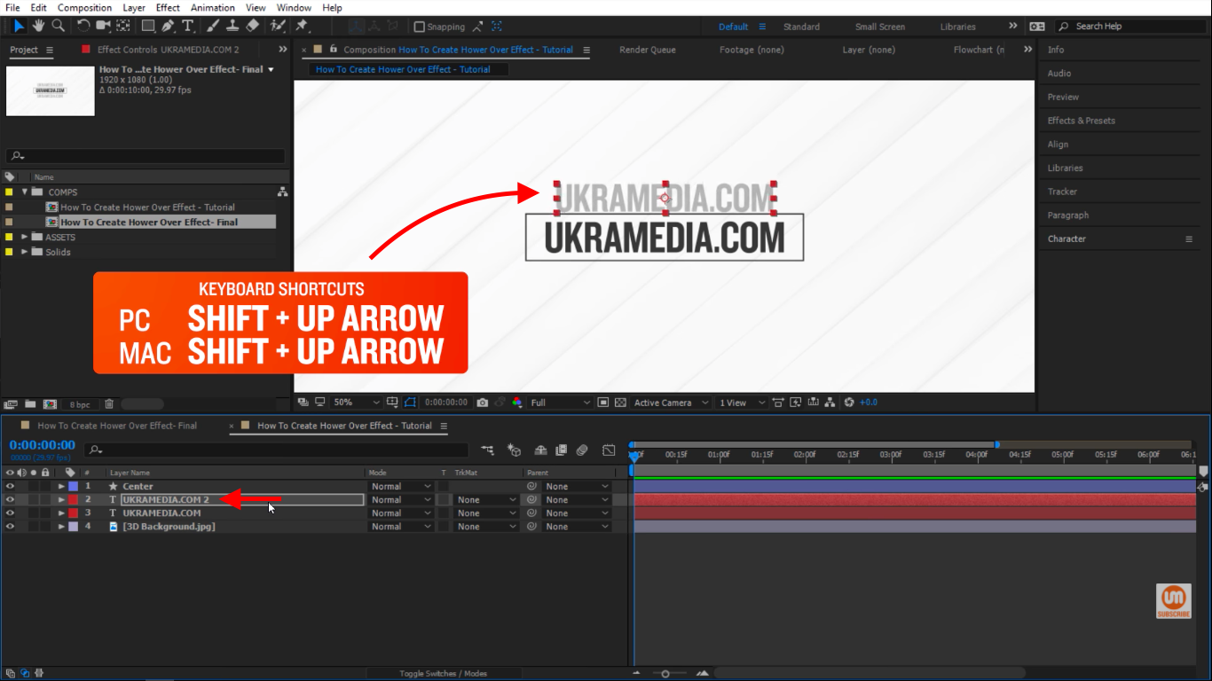 shift up keyboard shortcut in After Effects