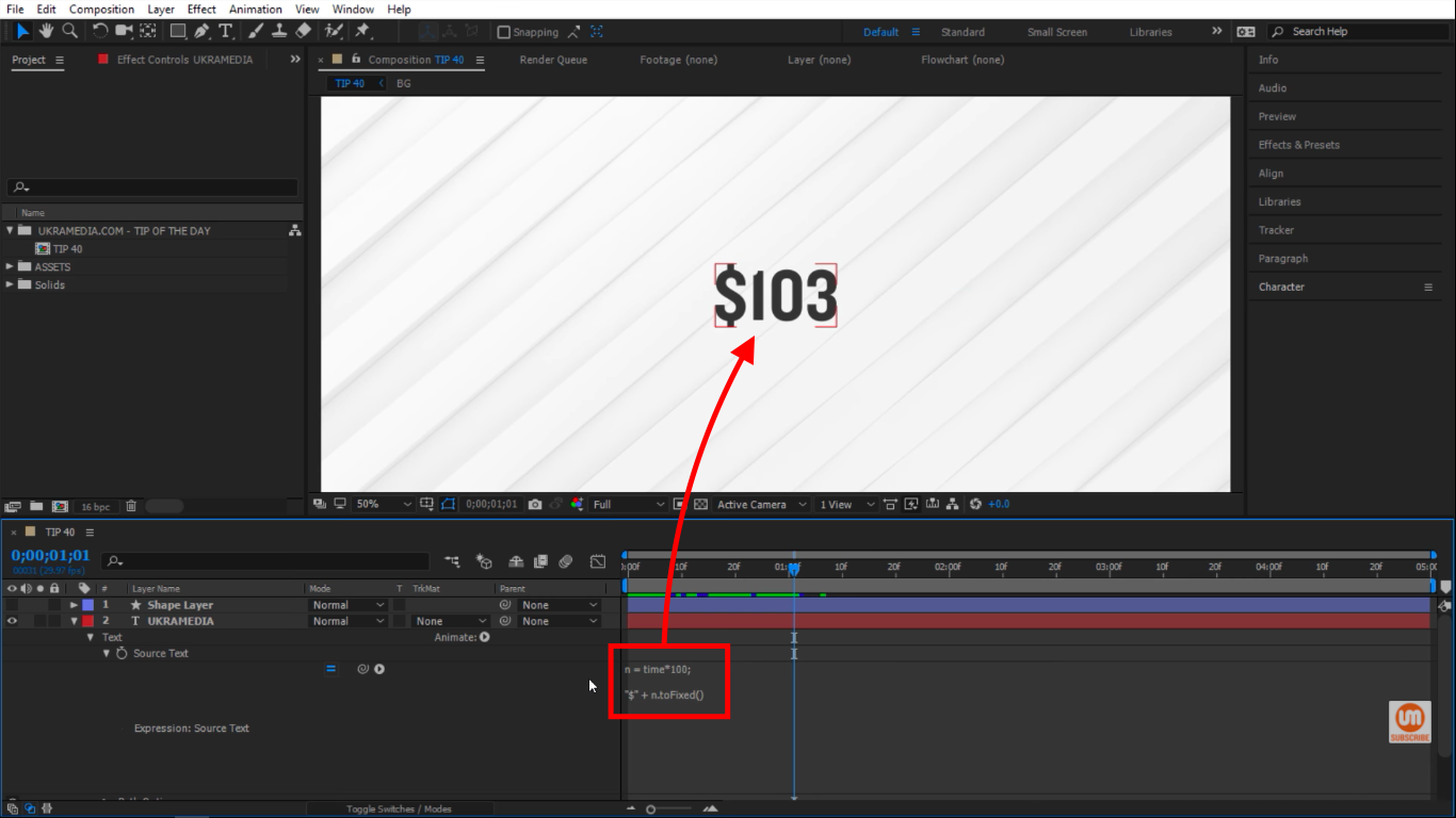 toFixed whole number in After Effects