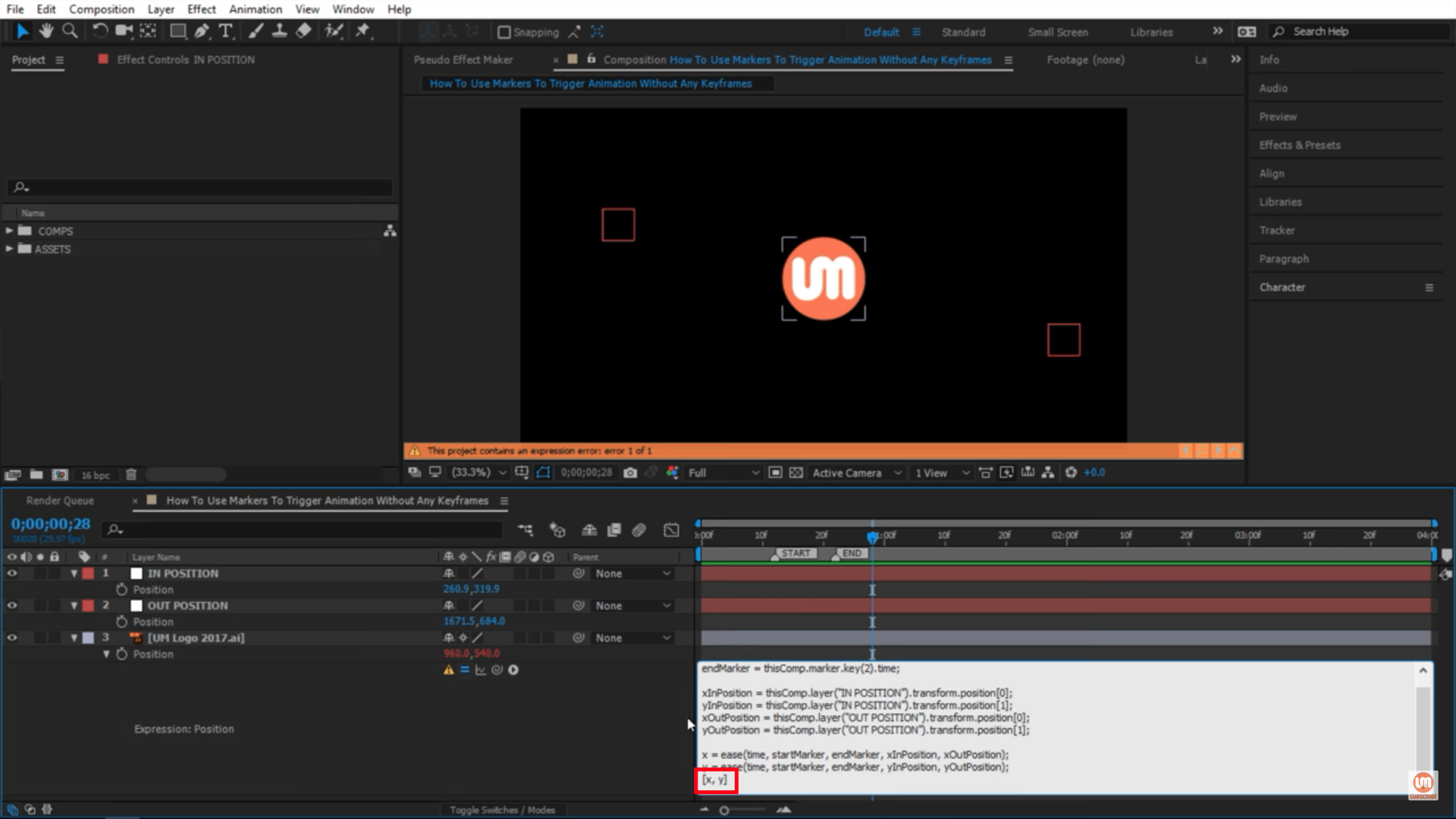 x and y after effects