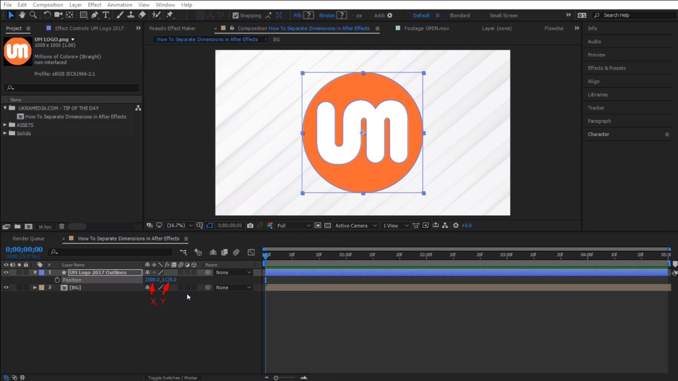 x and y properties in After Effects