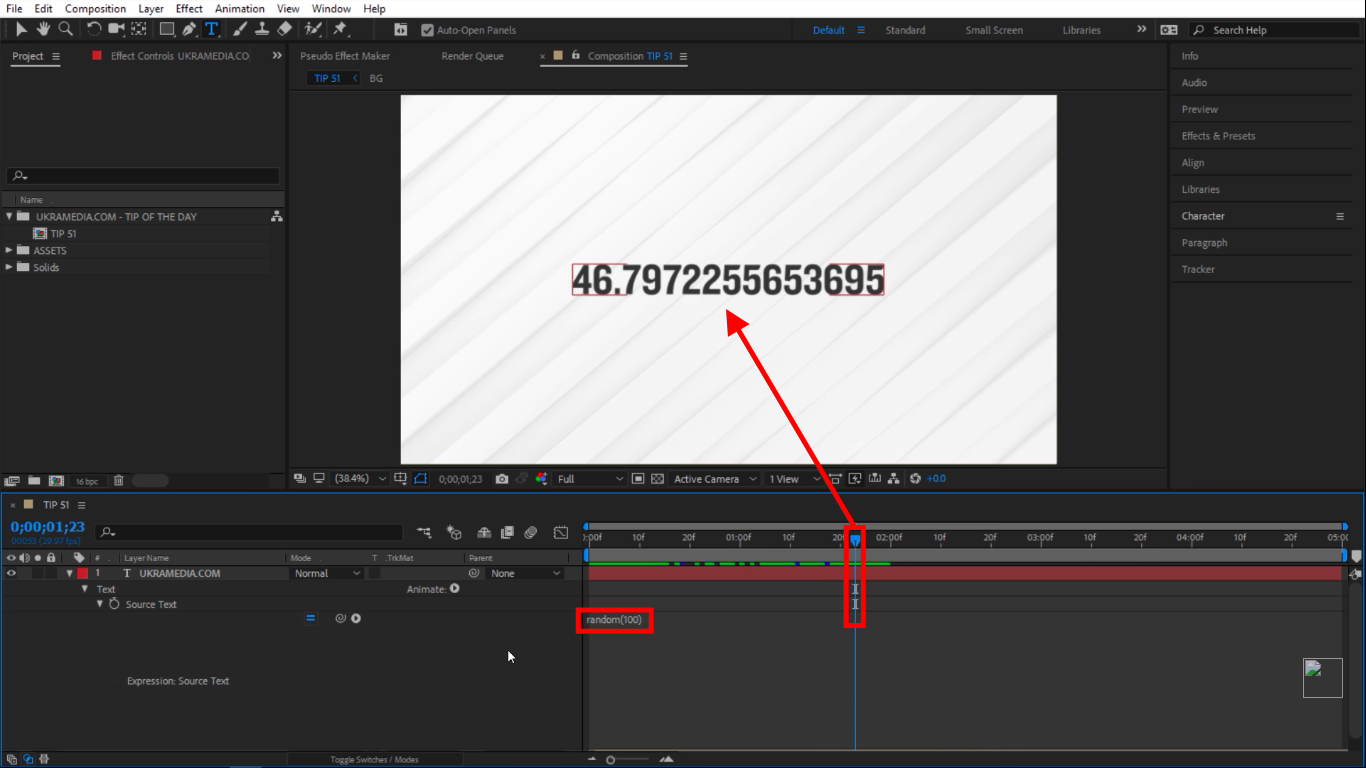 1 through 100 random numbers in After Effects
