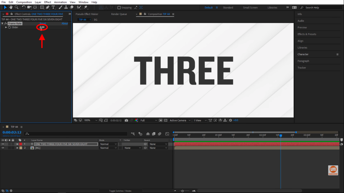 8 frame rate slider in After Effects