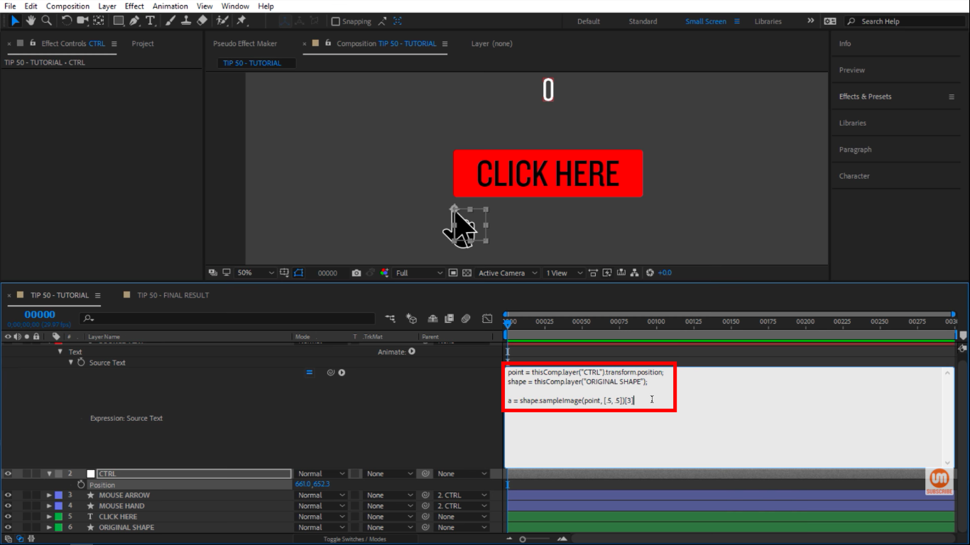 A equals to an expression in After Effects