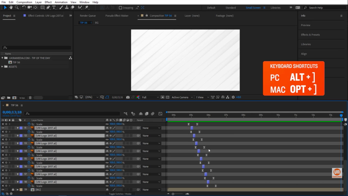 ALT close square brackets in After Effects