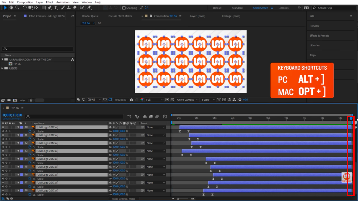 ALT close square braket keyboard shortcut to extend layers to time indicator in After Effects