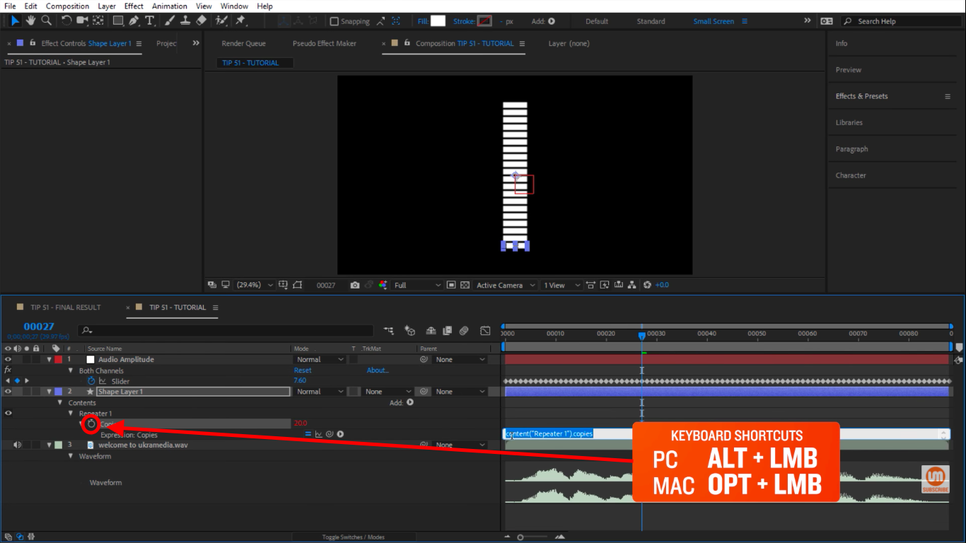 Activate expressions stopwatch icon in After Effects