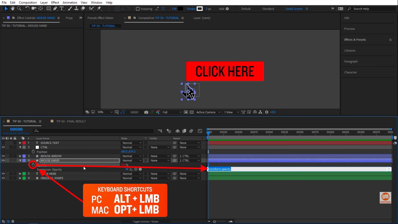 Activate expressions with stopwatch icon click in After Effects