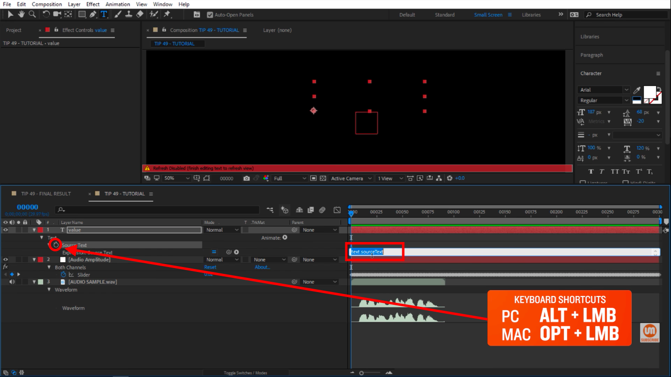 Activate the expression by clicking on the icon stopwatch in After Effects