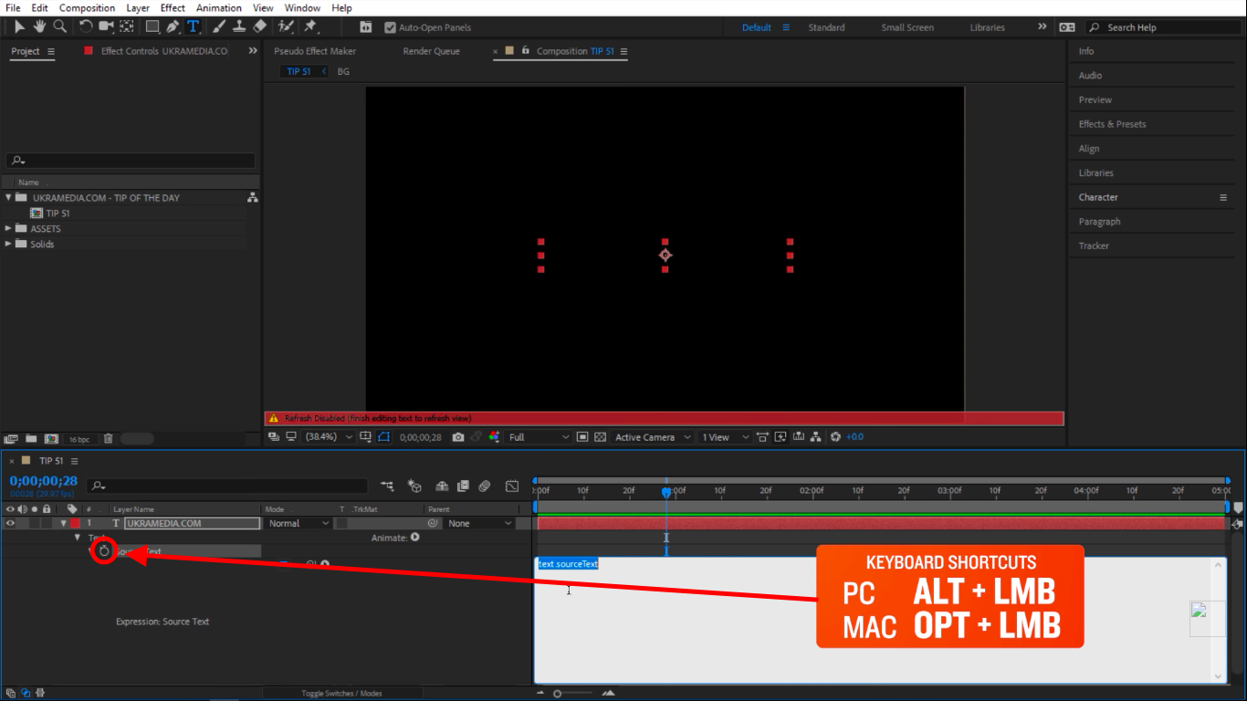Activate the expression in After Effects