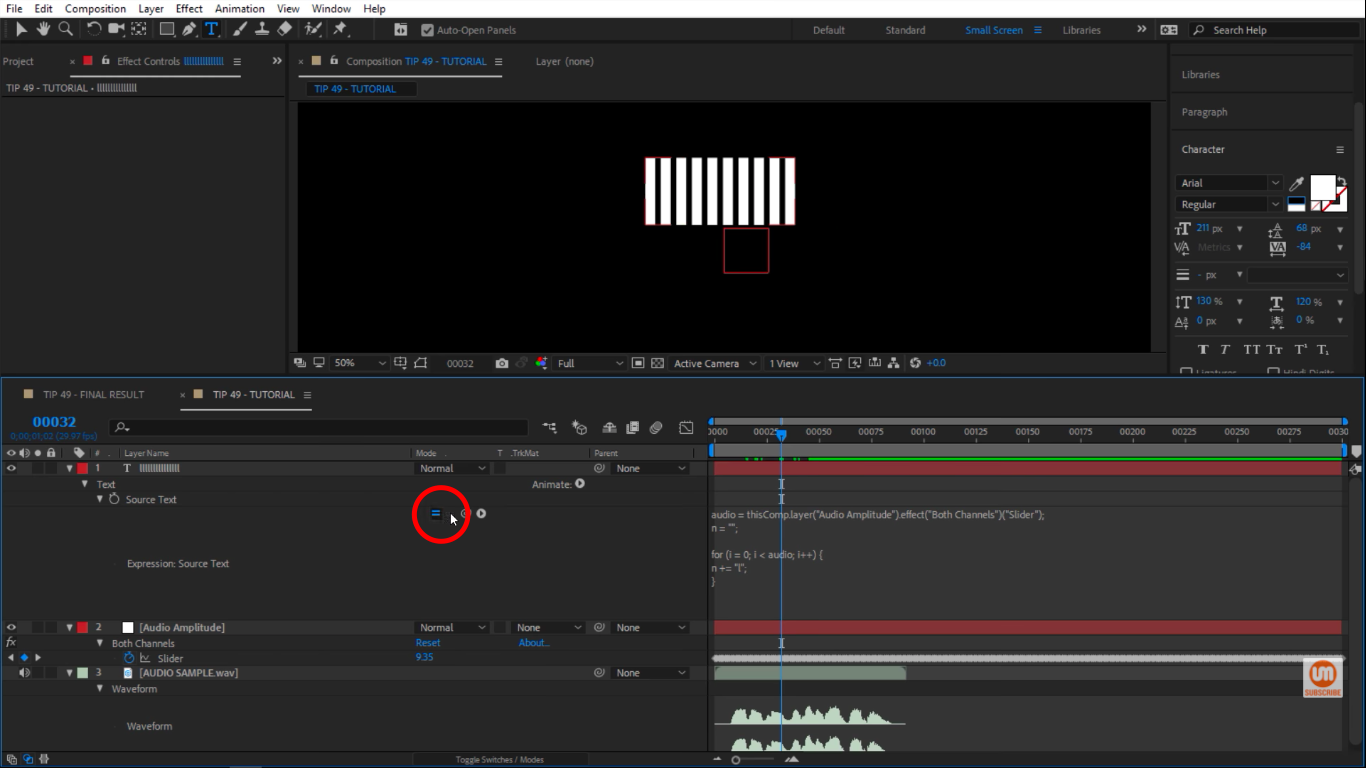 Activate the expressions in After Effects