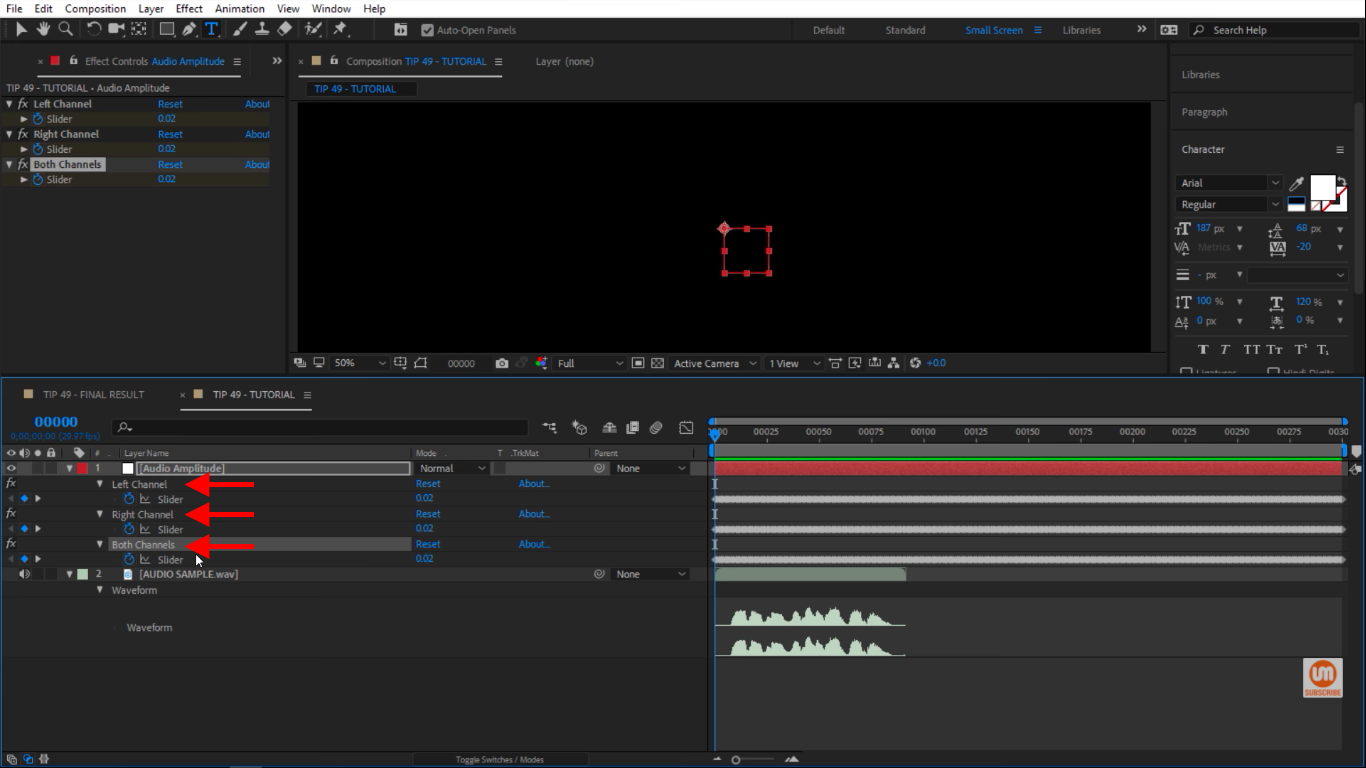 All audio channels in After Effects