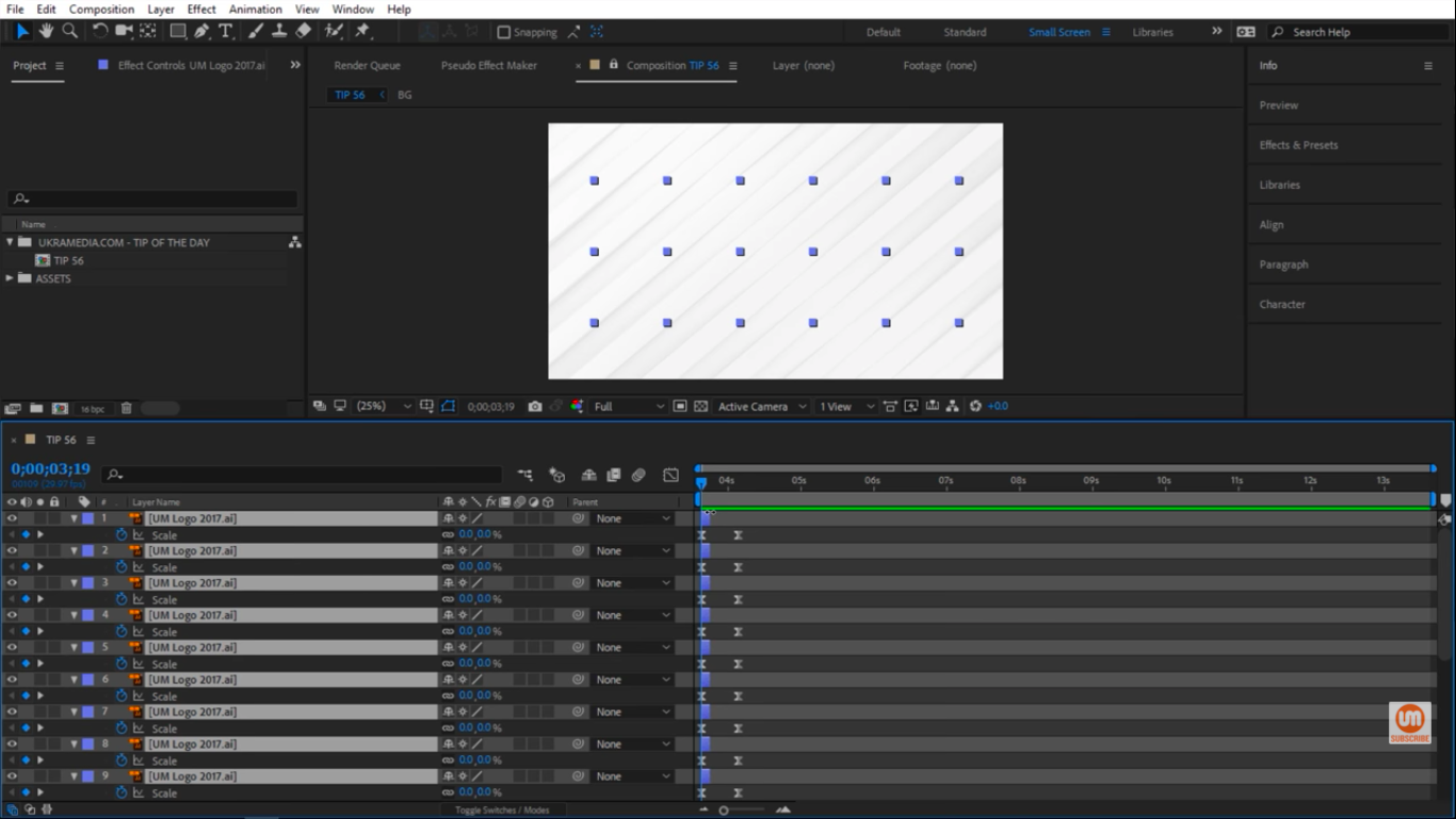 All layers selected in After Effects