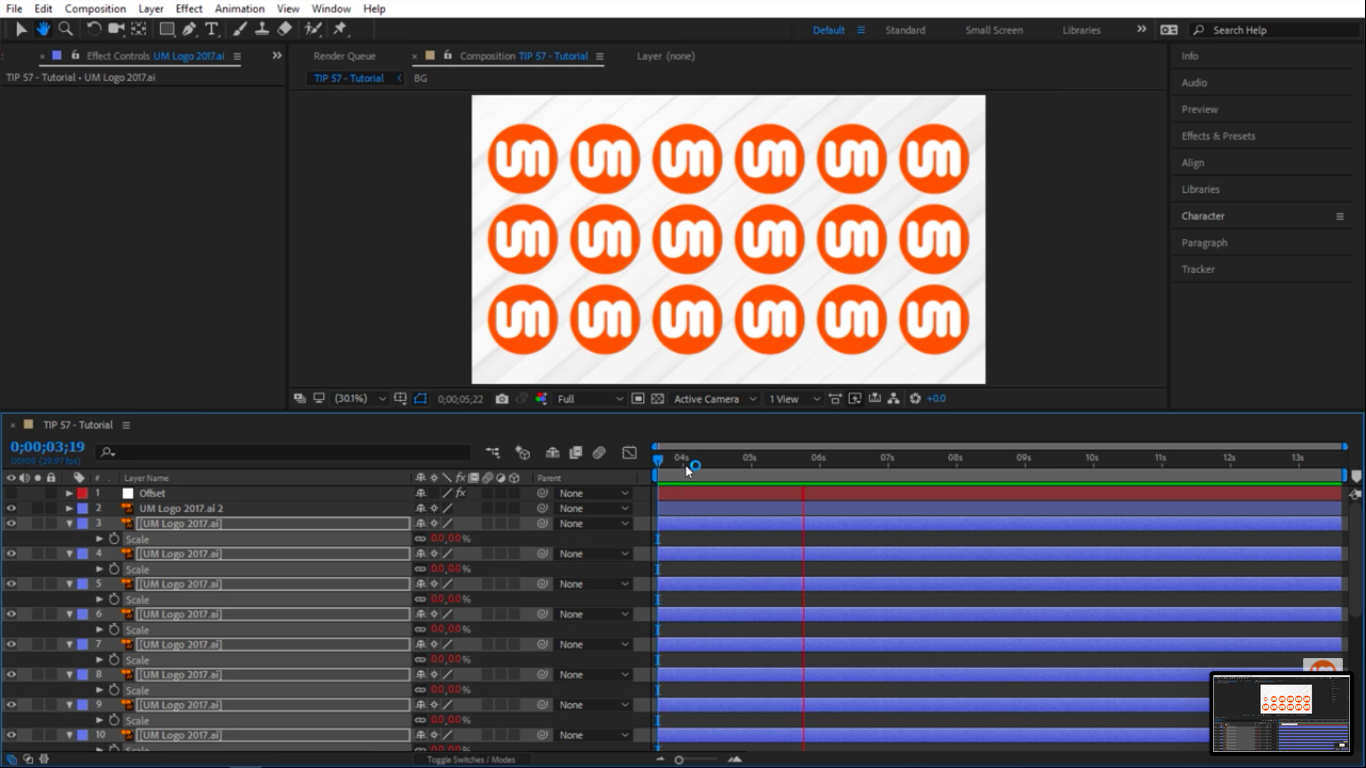 Animating layers with applied offset in After Effects