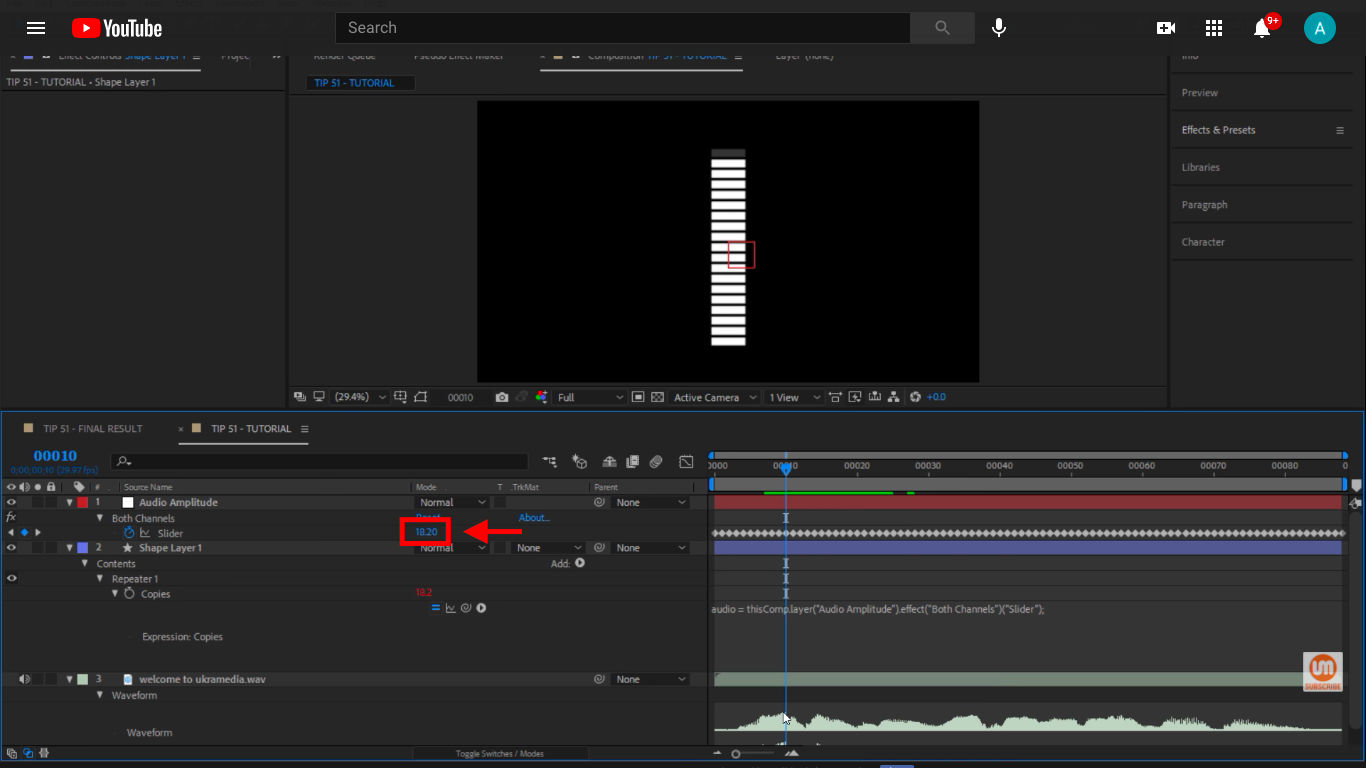 Both Channels slider is 20 in After Effects