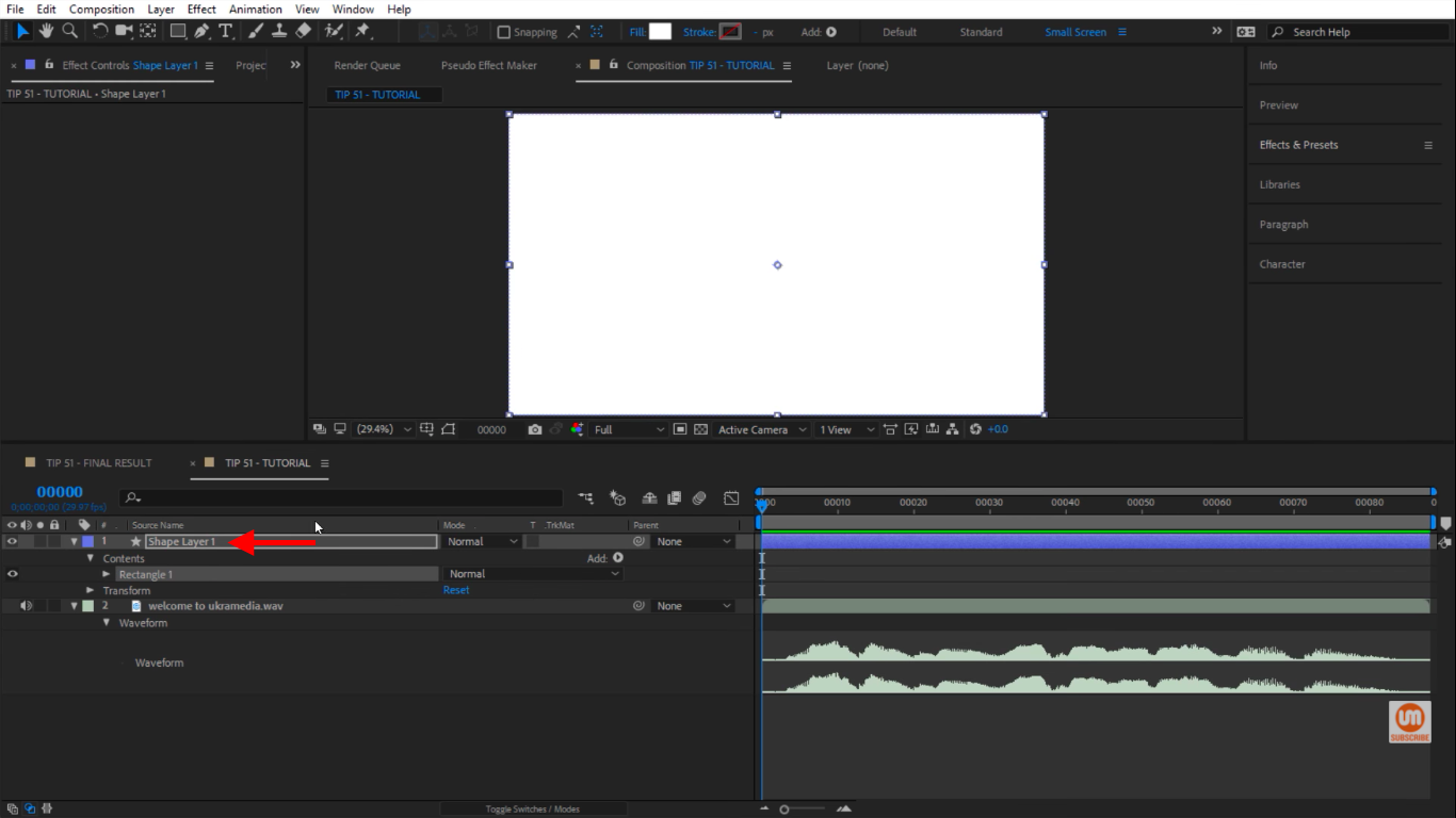 Bring in Rectangle inside of the After Effects composition