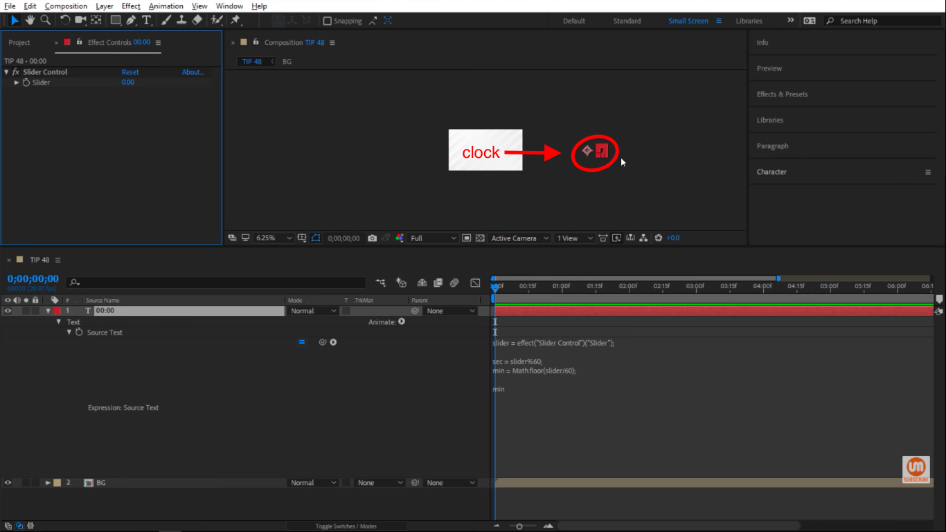 Can't see the clock in After Effects composition