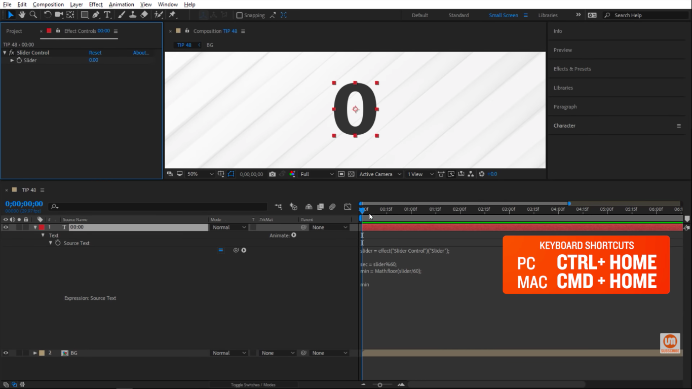Center in the composition in After Effects