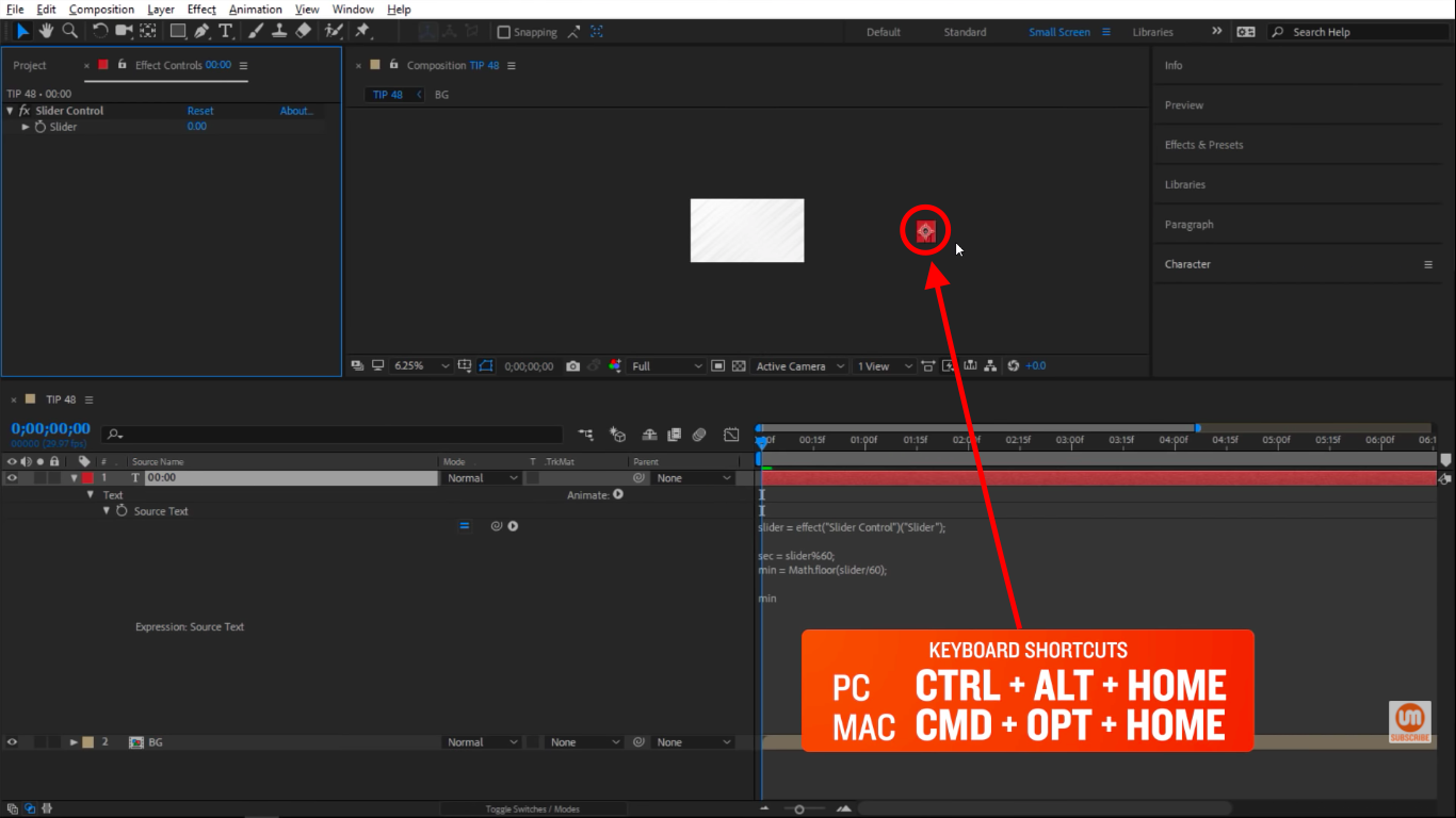 Center the pivot point in After Effects