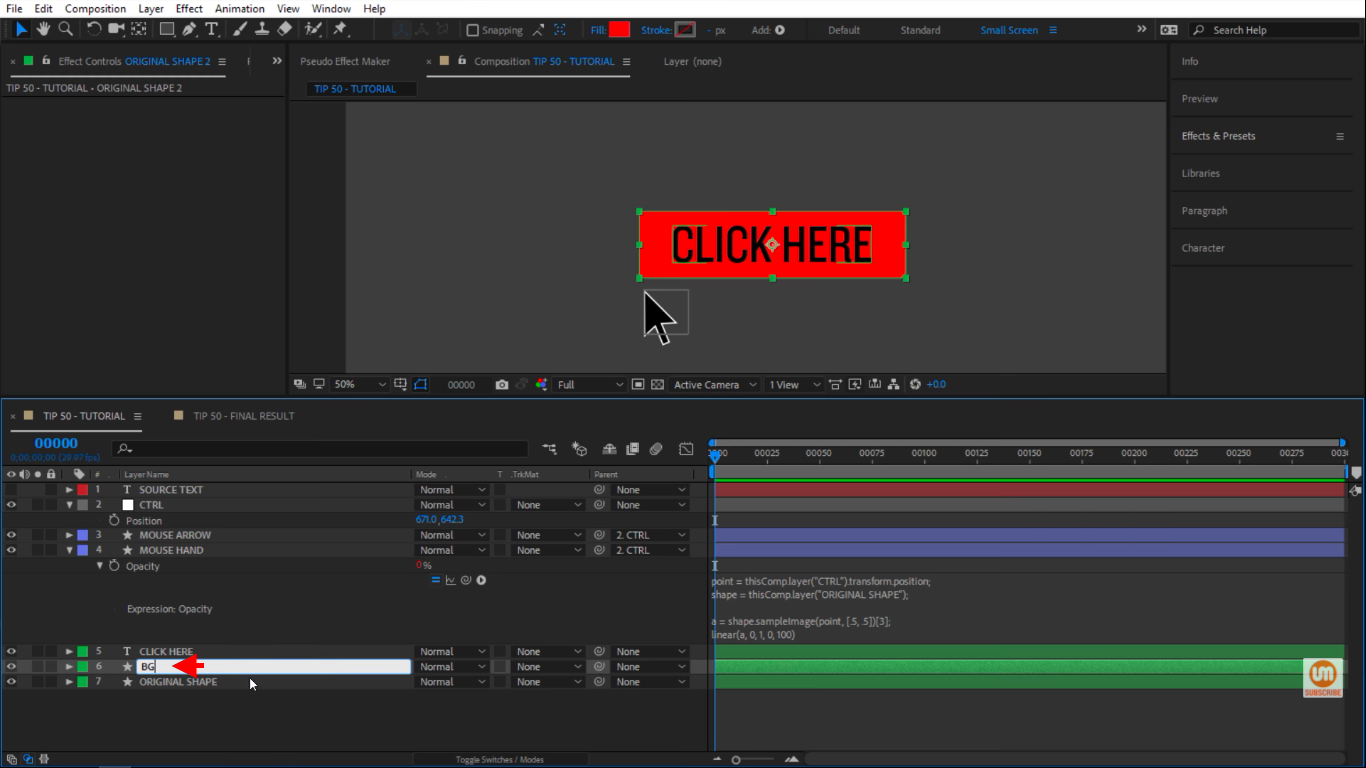 Change the name to BG for background in After Effects