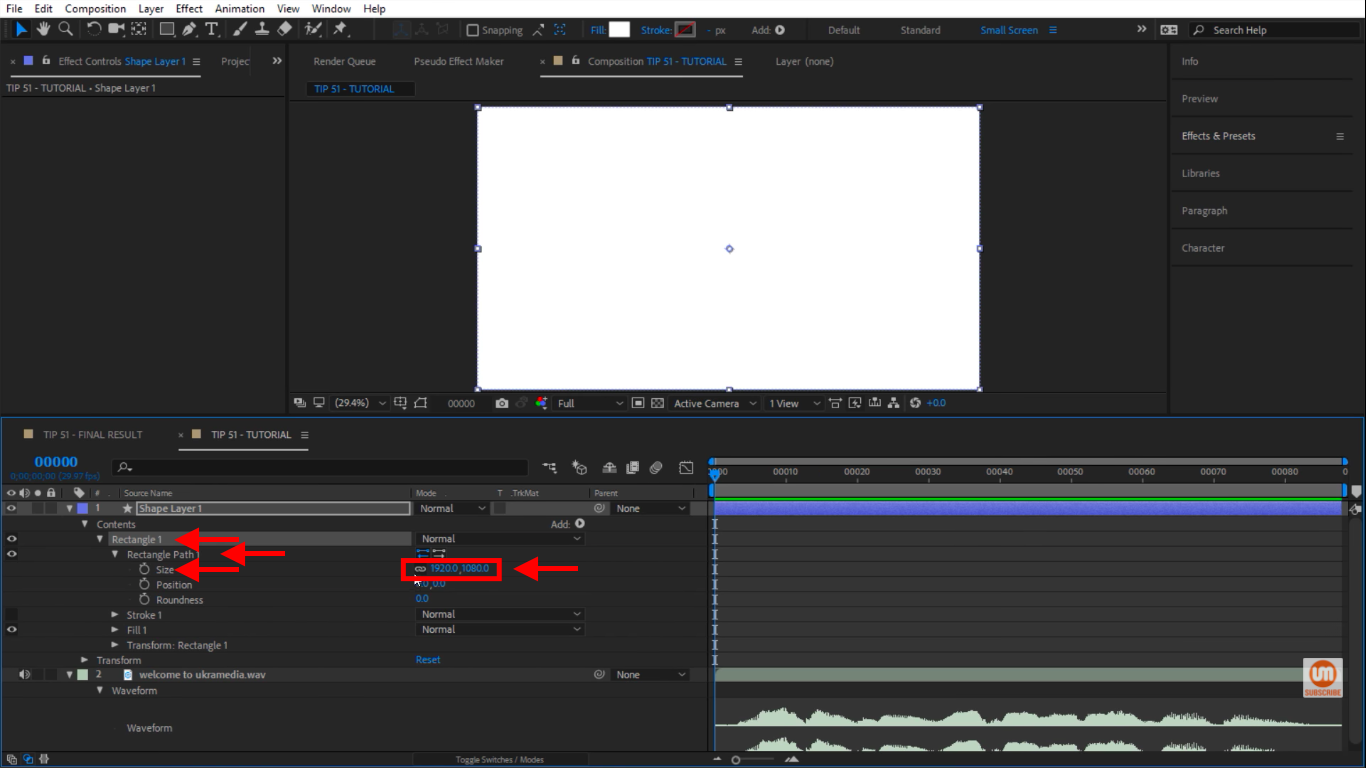 Change the size of our rectangle in After Effects