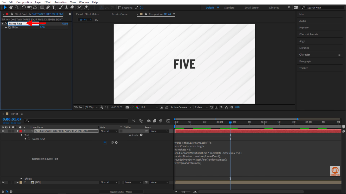 Change the slider to Frame Rate in After Effects Controls