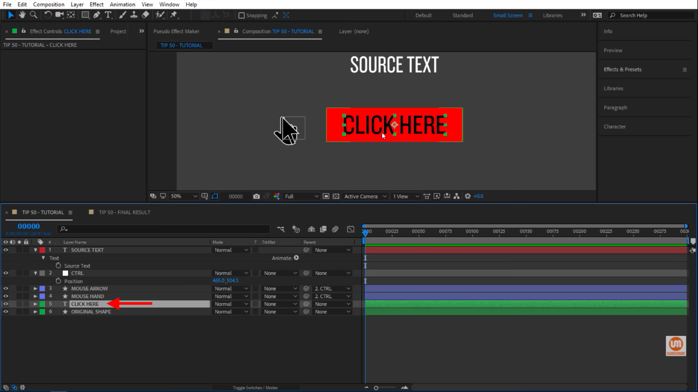 Click here text in After Effects