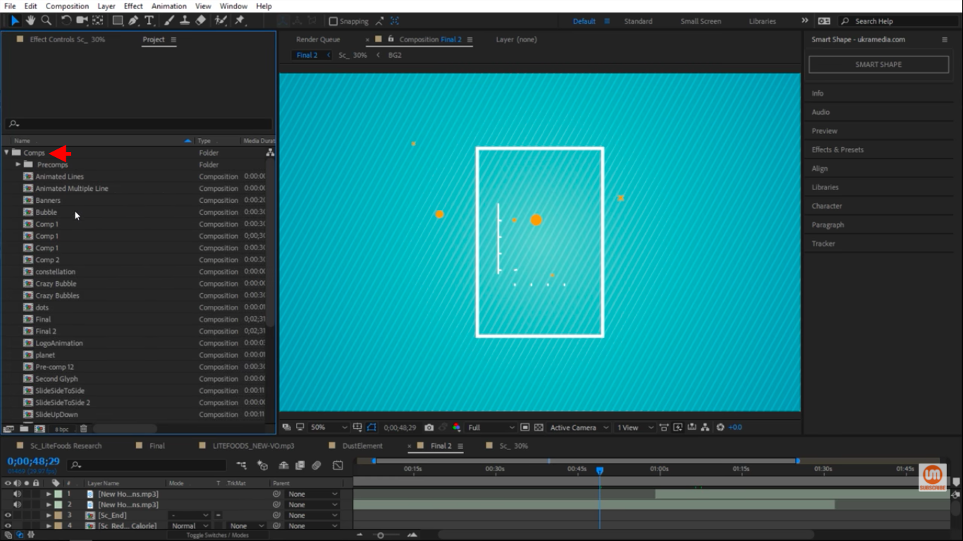 Comps folder in After Effects
