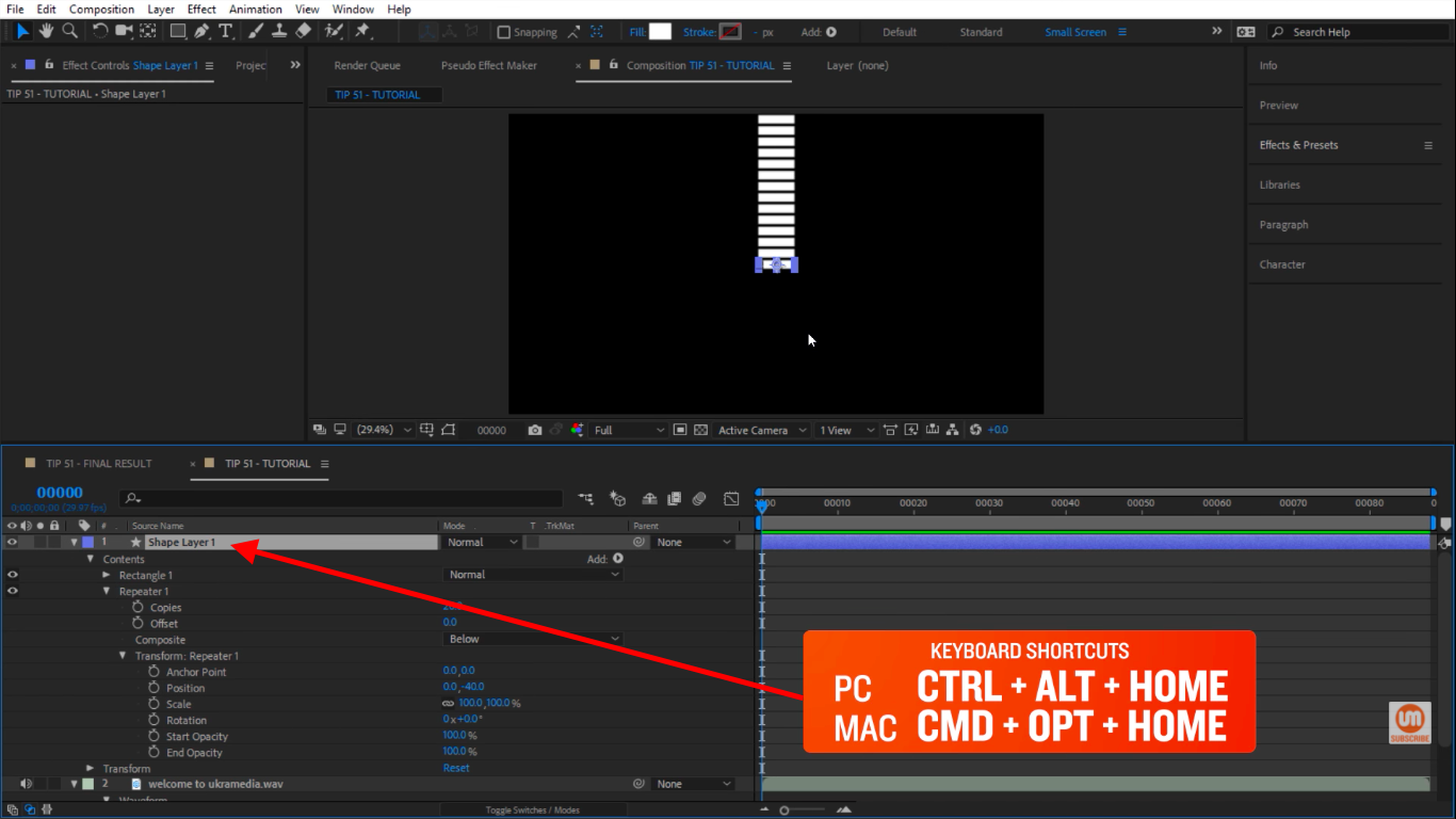 Control Alt Home keyboard shortcut in After Effects to center the pivot point
