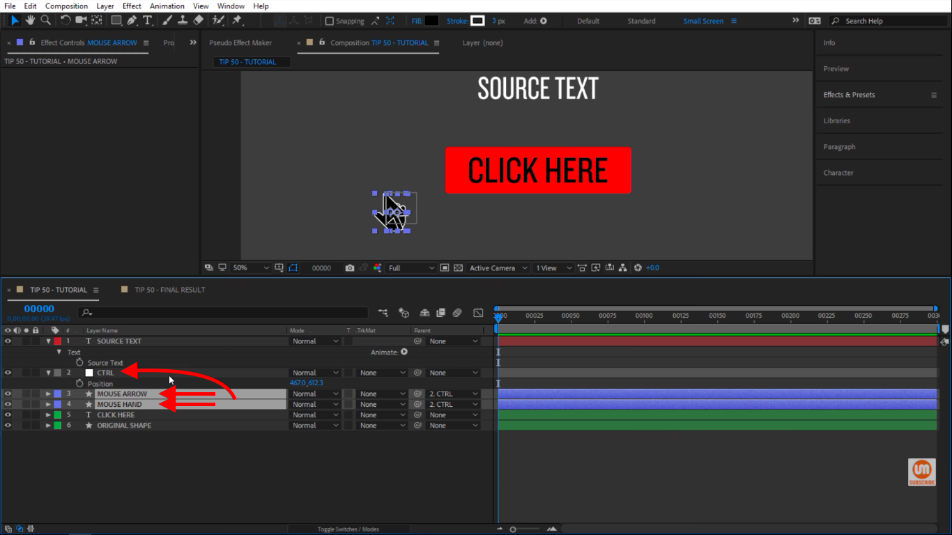 Control Nulls Parented in After Effects
