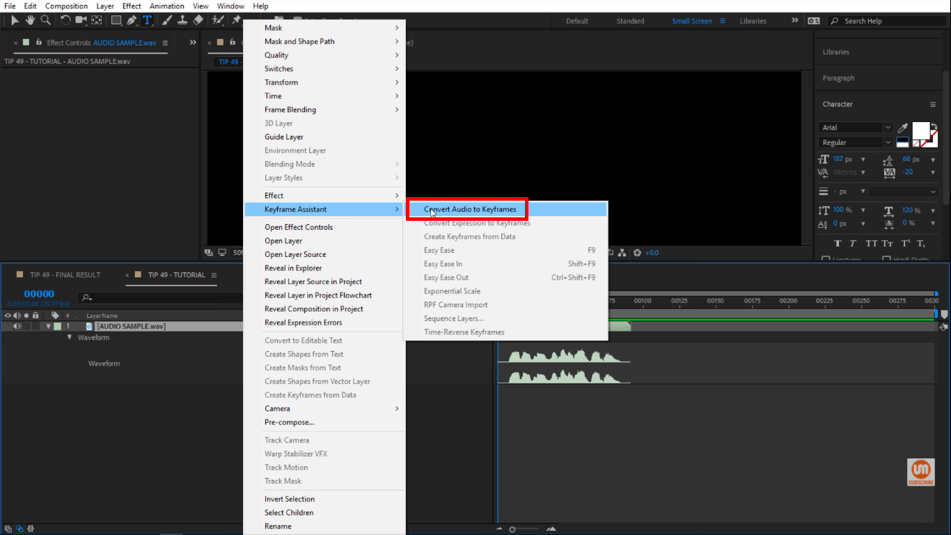 Convert Audio to Keyframes in After Effects