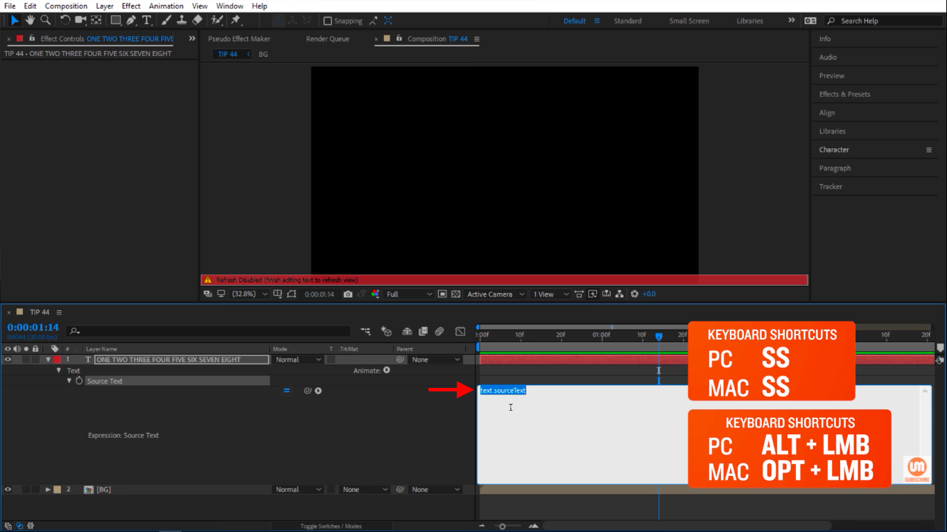 Create After Effects Expressions inside a white text field