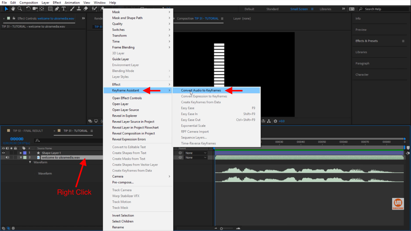 Create Audio to Keyframes in After Effects