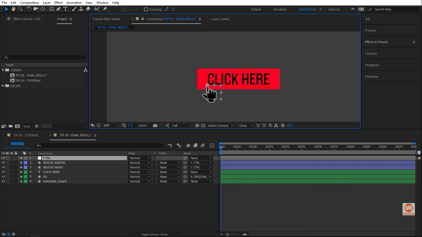 Cursor hovered over a button in After Effects
