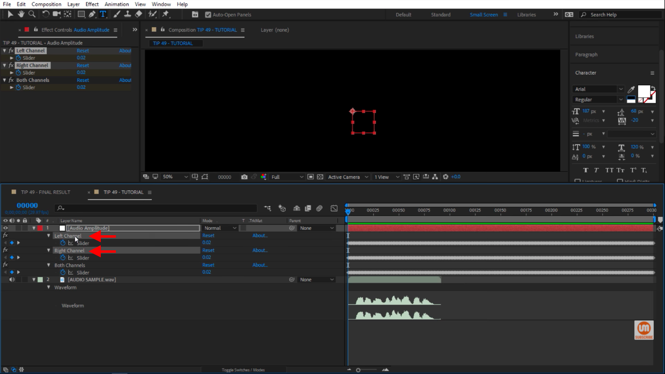 Delete right and left audio channel in After Effects