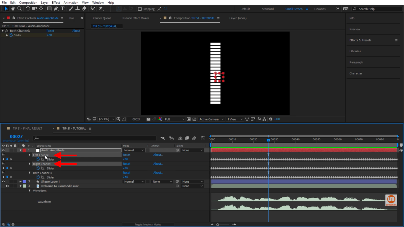 Delete right and left audio channels in After Effects
