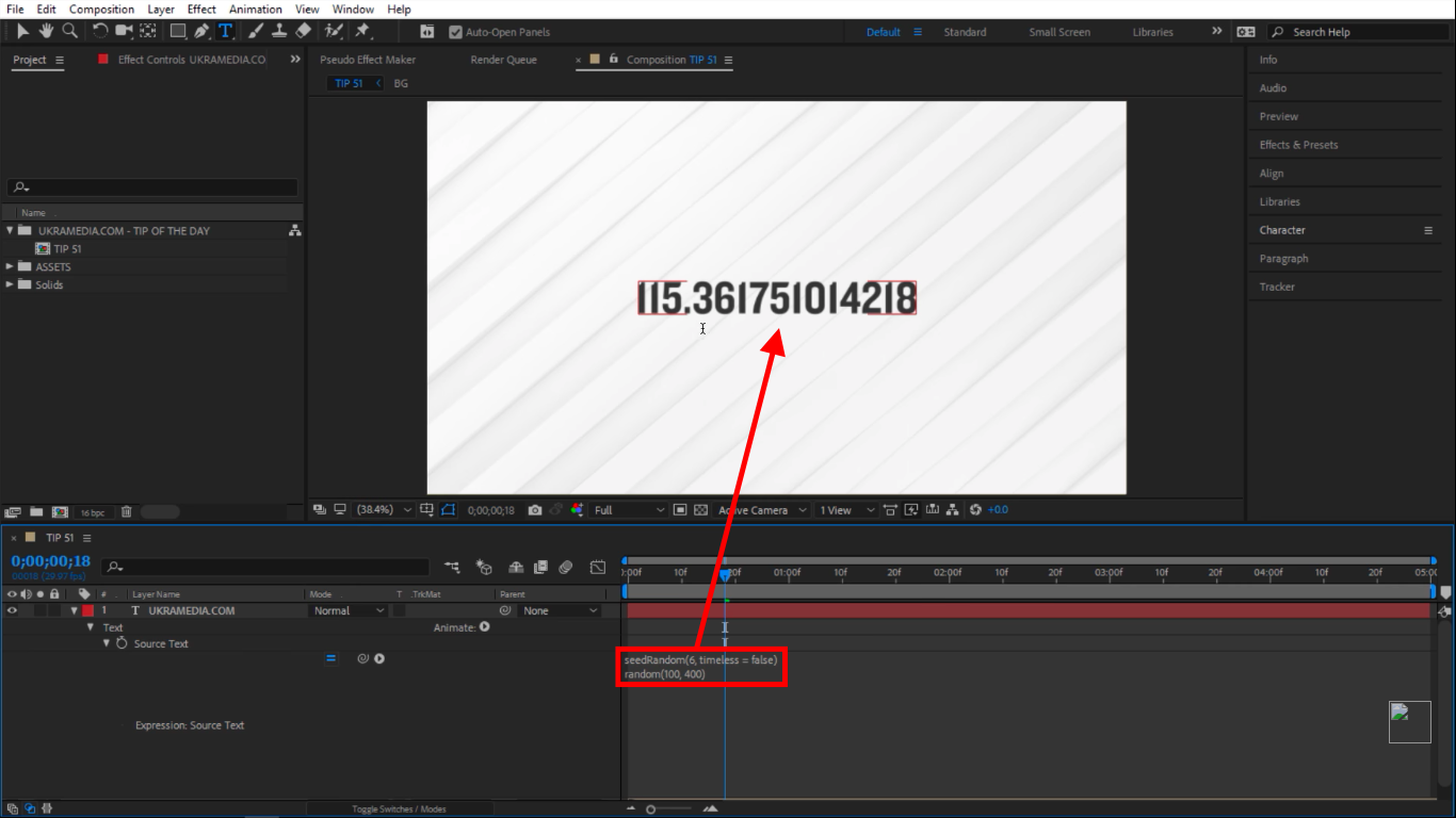 Different value seedRandom in After Effects