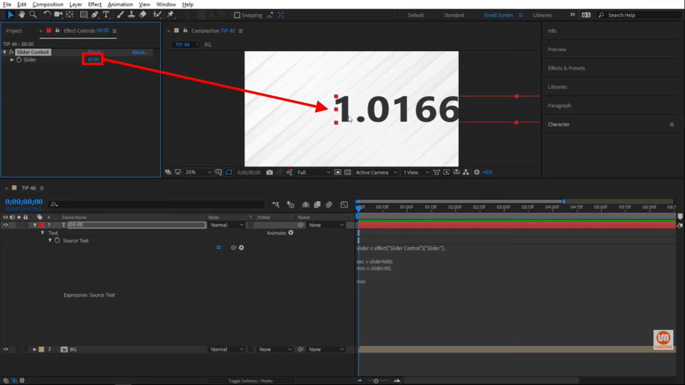Going past 60 in After Effects Slider