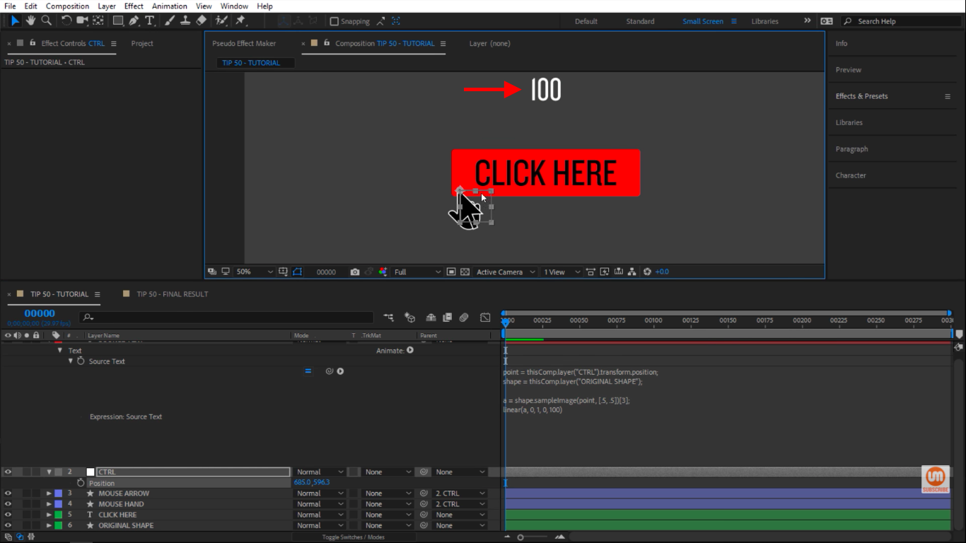 Hovered over a button in After Effects