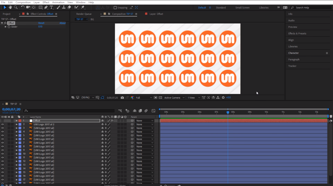 How to offset animation in After Effects