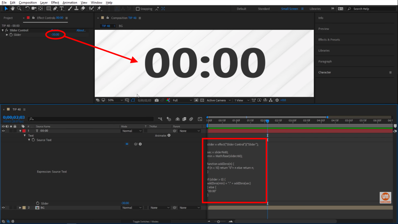 In the negatives in After Effects slider