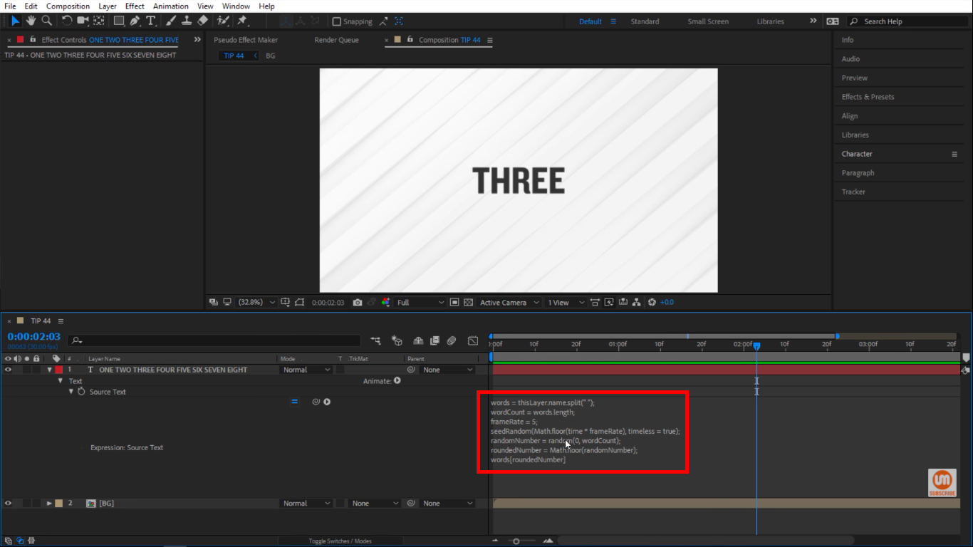 Inside a variable in After Effects