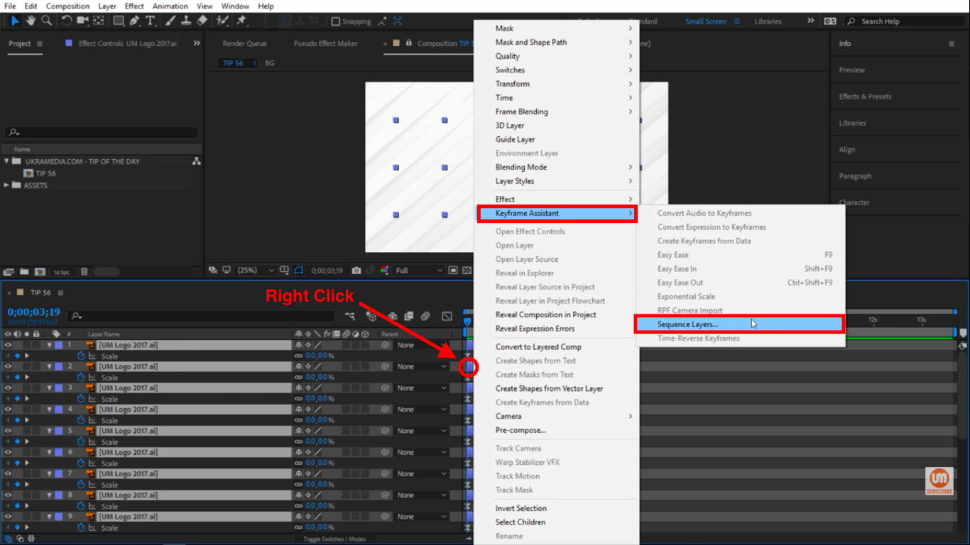 Keyframe Assistant Sequence Layers in After Effects