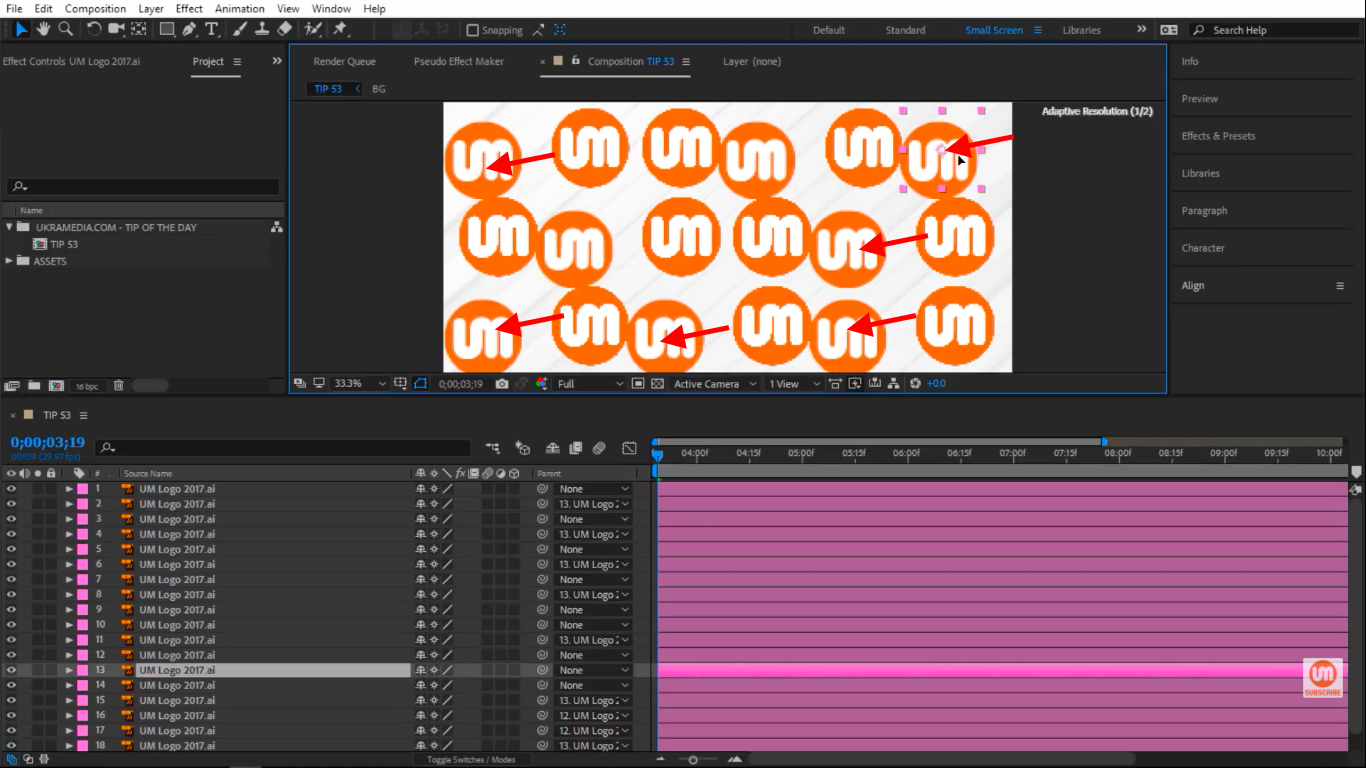 Layer parented to other layers in After Effects