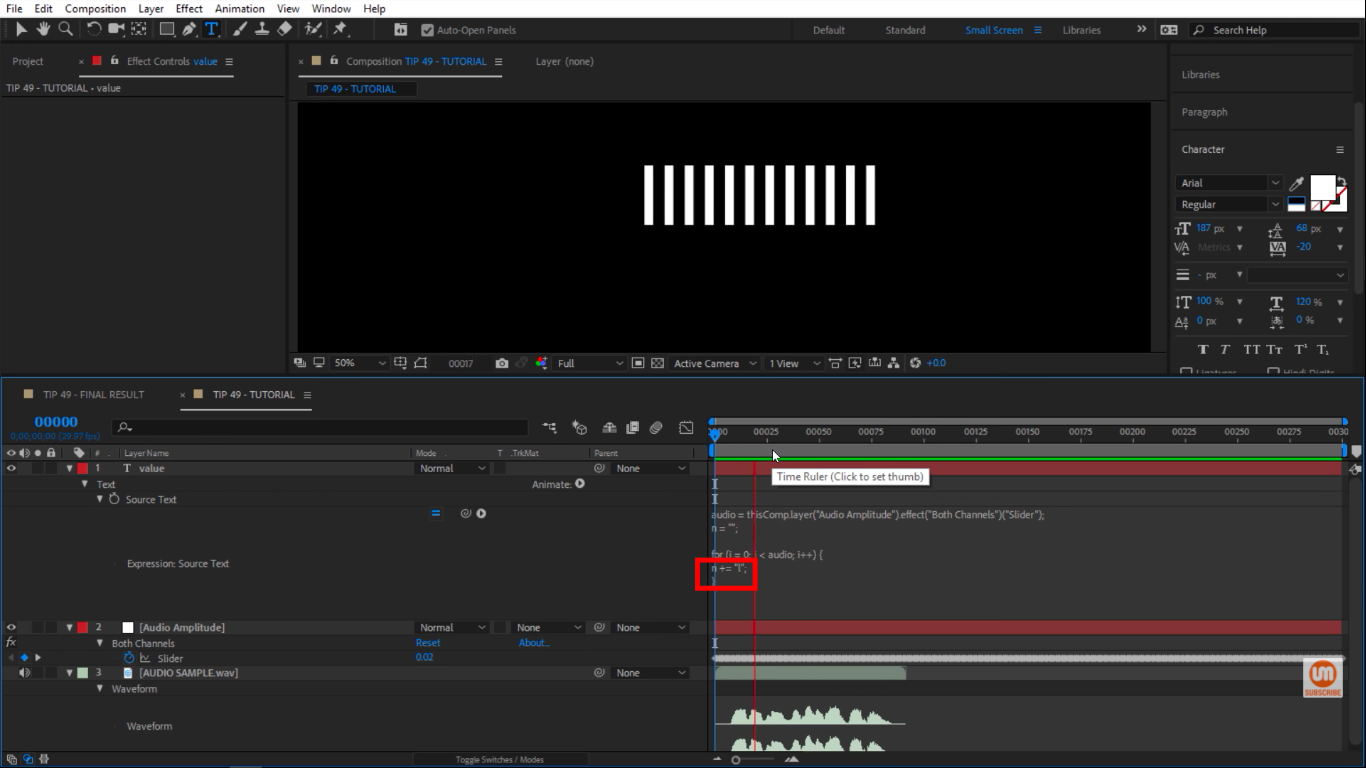 Lowercase l in After Effects