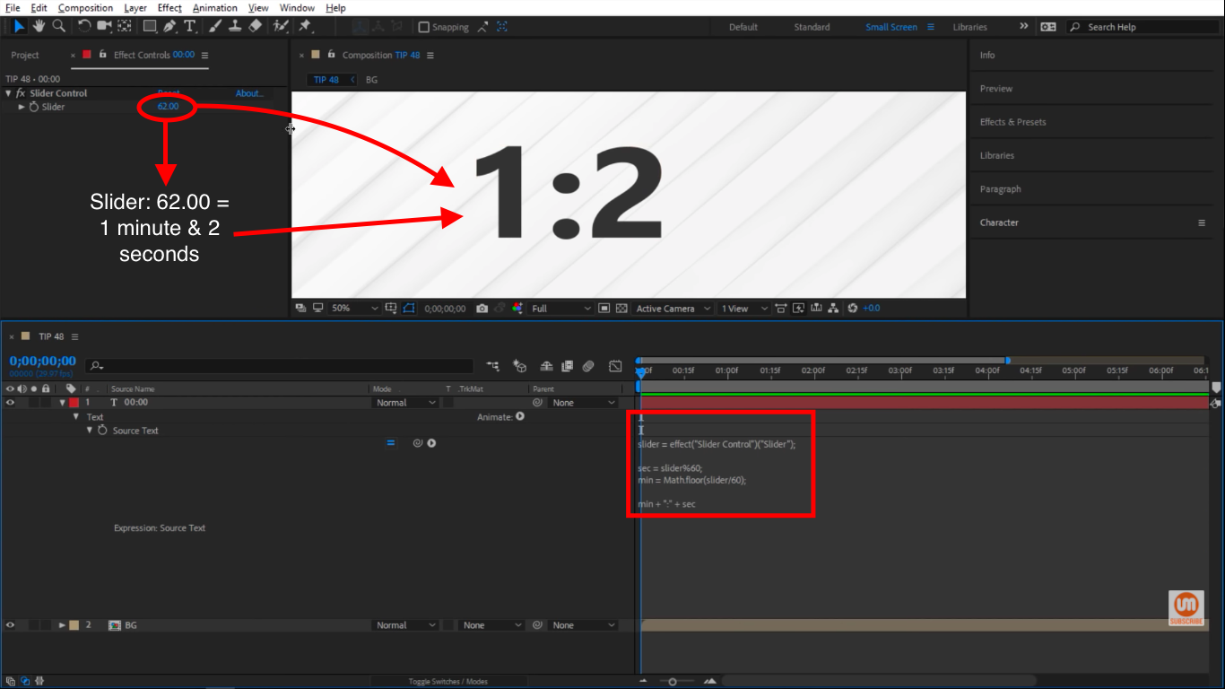 Minutes and seconds in After Effects
