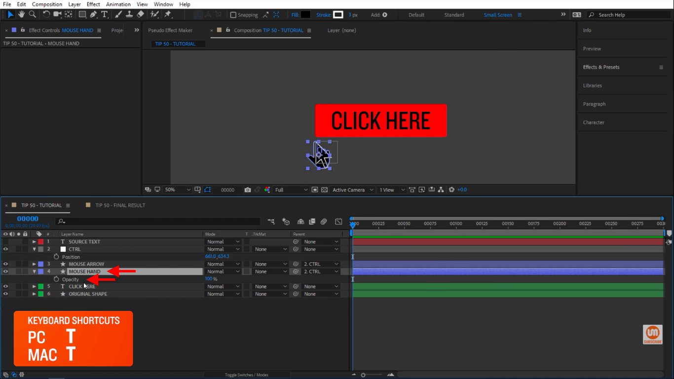 Mouse Hand in After Effects Opacity