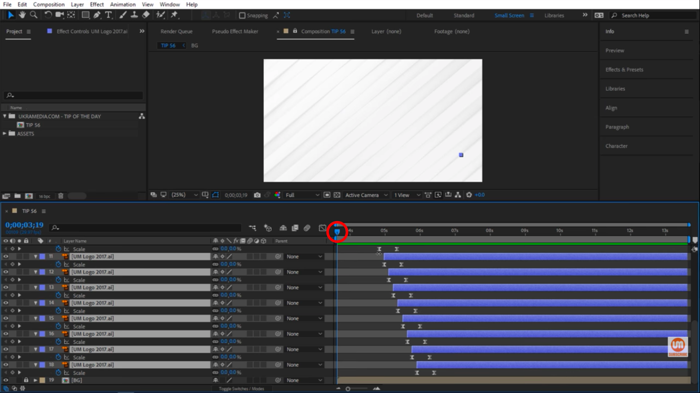 Move the time indicator to the beginning of timeline in After Effects