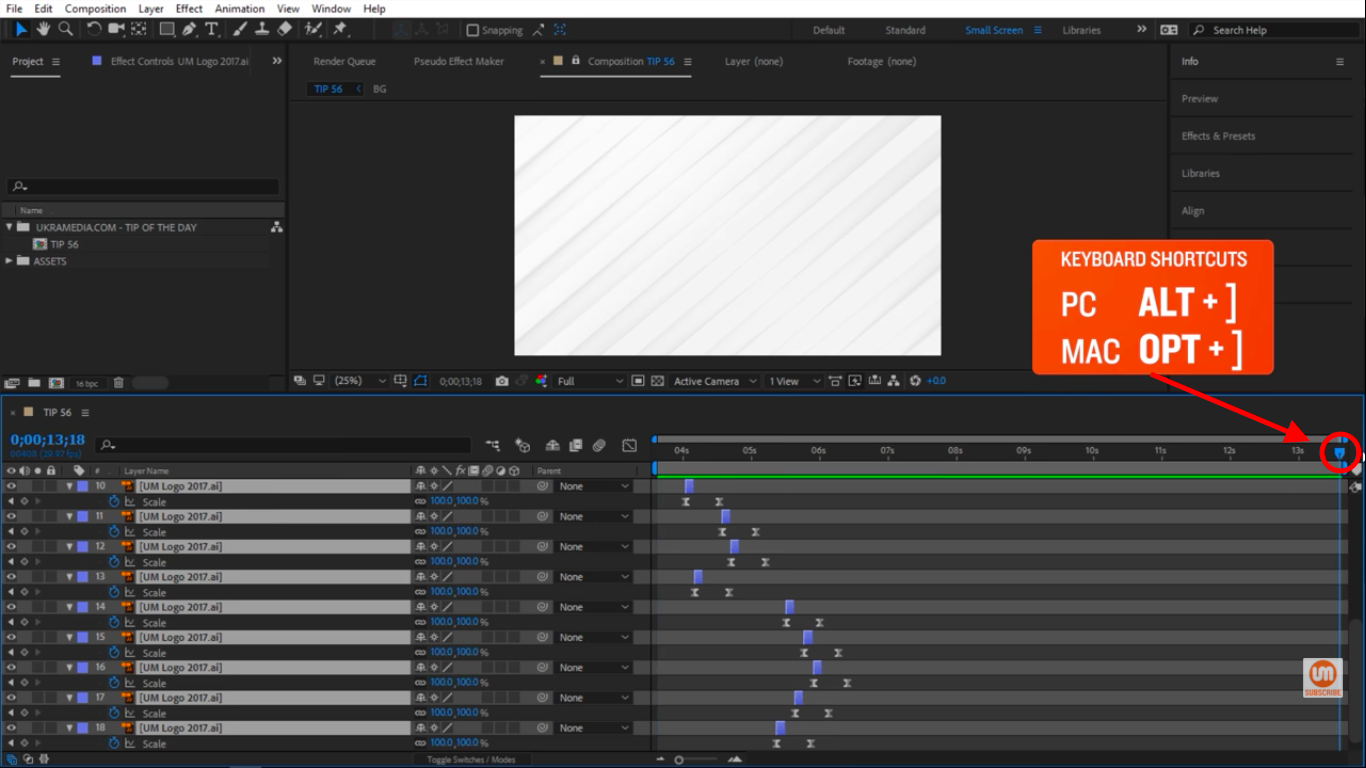 Move the time indicator to the end of the composition in Adobe After Effects