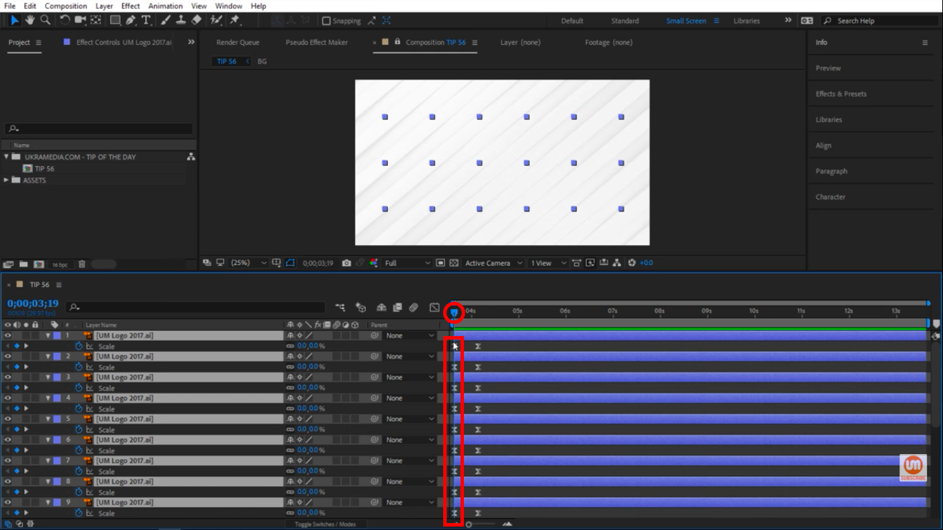 Move time indicator to the beginning of timeline in After Effects